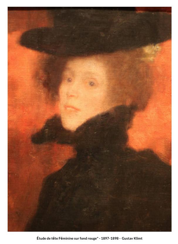 Etude de tête Féminine sur fond rouge – 1897-1898 de Gustav Klimt