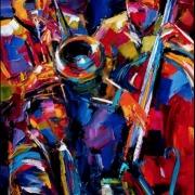 Abstract Jazz trio music oil painting art by Debra Hurd
