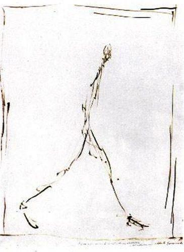 Alberto Giacometti, L'homme qui marche. Huile sur papier