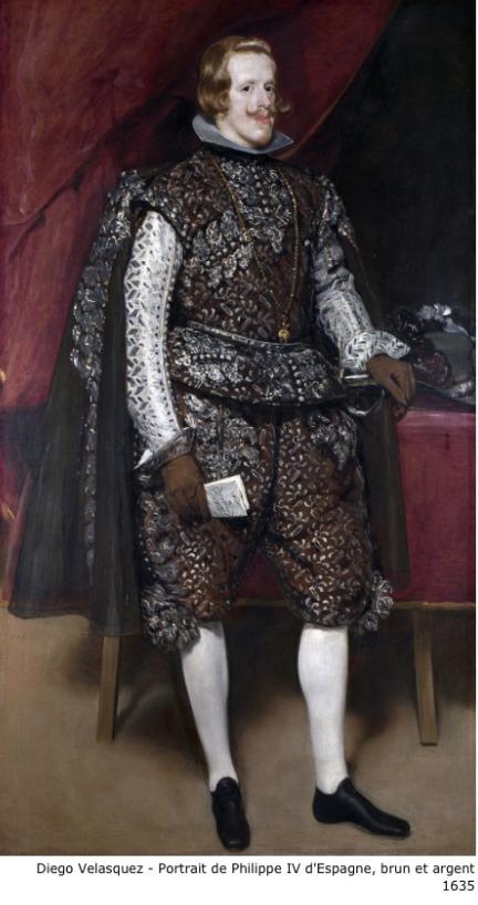 Diego Velasquez – Portrait de Philippe IV d'Espagne – Brun et argent – 1635