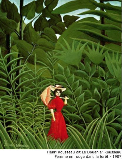 Henri Rousseau dit Le Douanier Rousseau – Femme en rouge dans la forêt – 1907