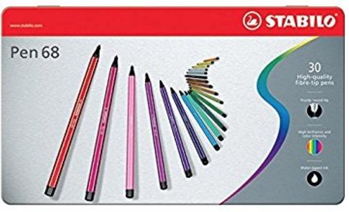 Stabilo - Pen 68 boite métal de 30 feutres - Pointe moyenne