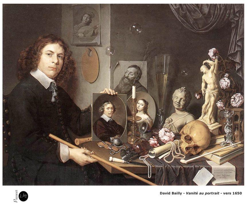 David Bailly – Vanité au portrait – Vers 1650 – Peinture Baroque