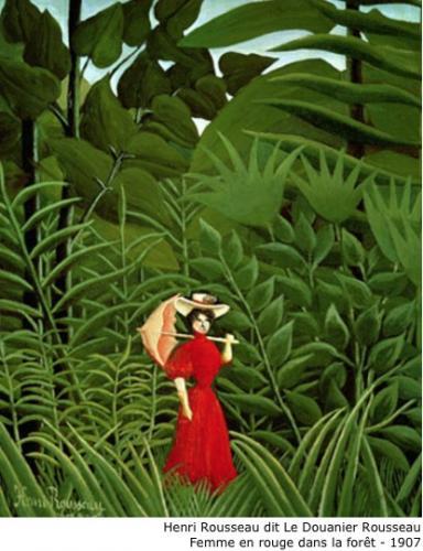 Henri Rousseau dit Le Douanier Rousseau - Femme en rouge dans la forêt - 1907