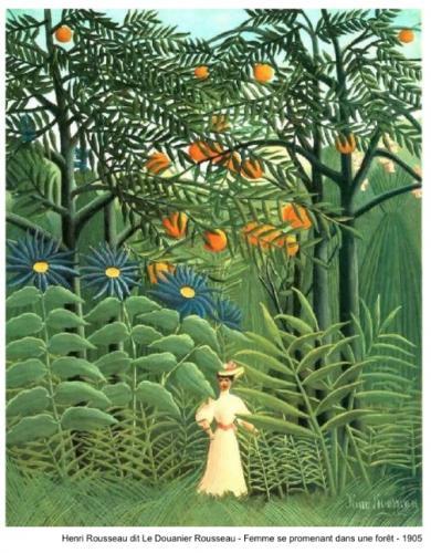 Henri Rousseau dit Le Douanier Rousseau - Femme se promenant dans une forêt - 1905